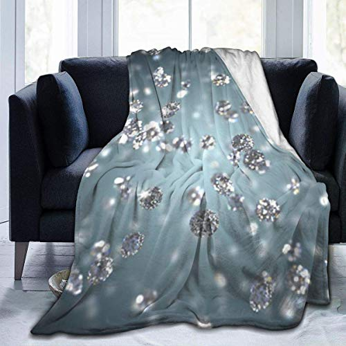 Micro Fleece Blanket Decke Brilliant Diamond Wallpaper Print Ultra-weiche leichte gemütliche warme Flauschige Plüschdecke Mikrofaser für Bett Couch Stuhl Wohnzimmer Herbst Winter Frühling 80x60inch