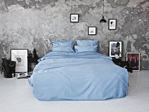 Bedroommood Satin Bettwäsche Set 300Fadenzahl 100{3801a54f32668422810488aee60192341c2a561e83807aa58895fd22a74f0b70} ägyptische Baumwolle Doppelbett 200x 200cm 2Kissenbezüge 50x 75cm, Marineblau, hellblau, Double-200x200