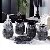 Badezimmer Set Durable Resin Home Bade Accessory Kit Marmor Stil Design-Rinse Becher Seifen-Kasten-Zahnbürste-Halter Wa