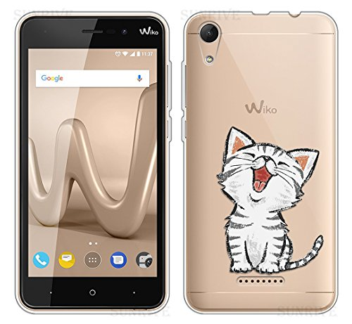Sunrive Für Wiko Lenny 4 Hülle Silikon, Transparent Handyhülle Schutzhülle Etui Case Backcover für Wiko Lenny 4(TPU Katze 2)+Gratis Universal Eingabestift