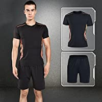 Fitness Athletic Mens 2 Pieces Clothing Set Quick Dry Clothing Set T-Shirt and Shorts Breathable Stretch for Gym and Outdoor Sports