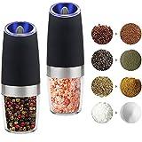 PUNICOK 2er Automatische Elektrische Gewürzmühle Schwerkraft Salz und Pfeffermühle Elektrische mit Einstellbarem feinem Präzision Mahlwerk