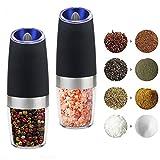 PUNICOK Elektrische Premium Salz Oder Pfeffermühle 2-Teiliges Set - Automatische Mühle mit Kippsensor - Gewürzmühle mit LED Beleuchtung - Einstellbares Mahlwerk