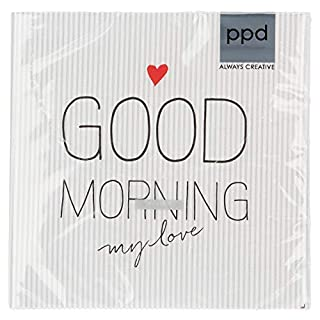 PPD Good Morning My Love Napkins, 20 Pieces, Table Napkins, Tissue, White / Grey, 33 x 33 cm, 1332600