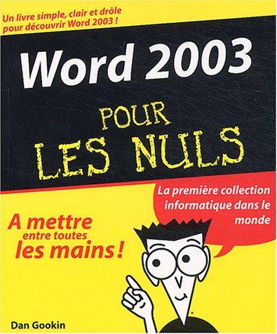 Word 2003 pour les nuls