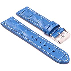 DASSARI Concord Blue Croc Leather watch Band for BREITLING 22/20 22mm
