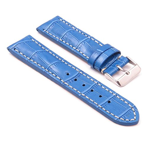 Concord w DASSARI Blau/weiße Nähte aus Leder, Kroko-Optik, 22/24 24 mm für (DE), BREITLING