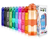 Botella de agua HoneyHolly Sports - 35oz / 1000ml - BPA Free a prueba de fugas y ecológico - Para gimnasio, correr, yoga, acampar, aire libre, hombres, mujeres y niños - Botellas de plástico para beber One One Open y Tritan con filtro ( 1 litros, Glossy Naranja)