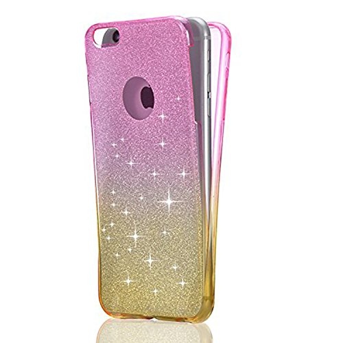 for iPhone 6S Plus Case, 3 in 1 Case for iPhone 6 Plus , Sunroyal Luxury Sparkly Color Star Hybrid Glitter Bling Color Change Shiny TPU Soft Rubber Shock-Absorption Flexible All Round Design Front and Back Full Body 360 Degree Protective Case Cover for iPhone 6S Plus / iPhone 6 Plus 5.5 inch - Pink & Yellow
