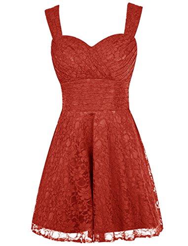 Dresstells, Robe courte de soirée de cocktail Robe de fête de la rentrée en dentelle longueur genou Rouge