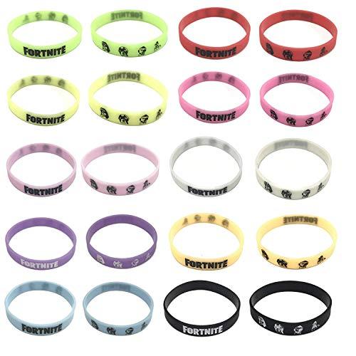 (Hizoop 10 Stücke Doppelseitige Game Party Supplies Armbänder für Kinder, Geburtstagsfeier Dekoration Armbänder Gefälligkeiten, Glow in The Dark, 10 Farben)
