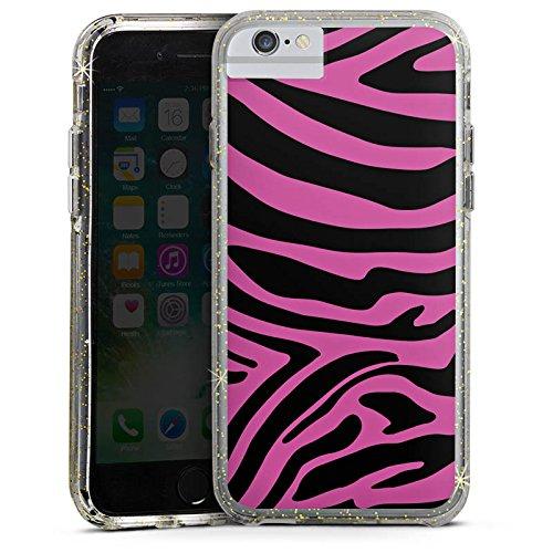 Apple iPhone 7 Bumper Hülle Bumper Case Glitzer Hülle Pink Muster Zebra Trend Bumper Case Glitzer gold