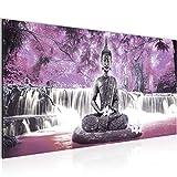 Bilder Buddha Wasserfall Wandbild Vlies - Leinwand Bild XXL Format Wandbilder Wohnzimmer Wohnung Deko Kunstdrucke Violett 1 Teilig - MADE IN GERMANY - Fertig zum Aufhängen 503512c