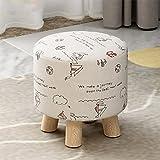Stool Health UK Hocker Runde Multifunktionale Kleine osmanische Holz Fußstütze Hocker 4 Beine Schuhe Hocker Beige Stoffbezug Sofa Hocker 29 X 27 cm Welcome (Farbe : A)