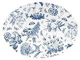 Portmeirion stoviglie da tavola in porcellana, in stile vintage formale, lavabile in lavastoviglie e adatta al microonde bianco/blu., Oval Dish