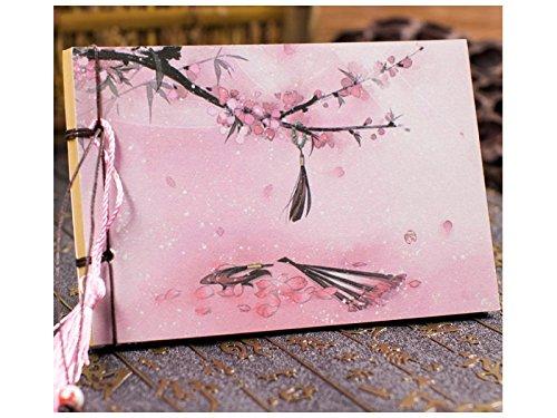 Jahrgang Chinesisch-Stil Landschaft Notebook Journal Quaste handgefertigte persönliche Tagebuch Notizbücher und Zeitschriften Papier Bücher (Pink) Geburtstagsgeschenk