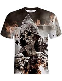 Jaminy Homme Tête de Mort Impression 3D Tees Shirt à Manches Courtes T-Shirt  Blouse 2eb3574b44c4
