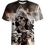 Jaminy Homme Tête de Mort Impression 3D Tees Shirt à Manches Courtes T-Shirt Blouse Tops, Noir, Grand