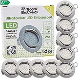 National Electronics Slim Line Einbauspot 3.5W in Edelstahl gebürstet nur 25mm Einbautiefe