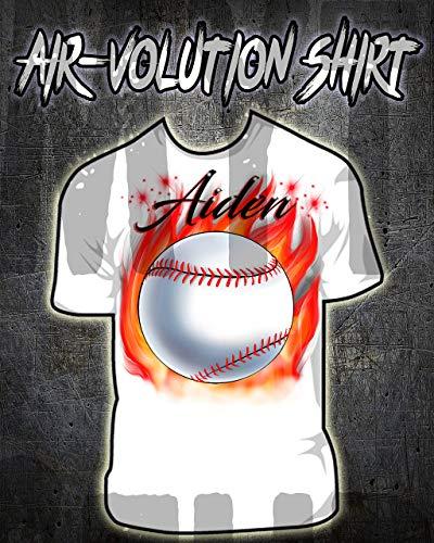 Mythic Airbrush Personalisierte Airbrushed Baseball-Hemd Kinder- / Erwachsen-Größen Weiß