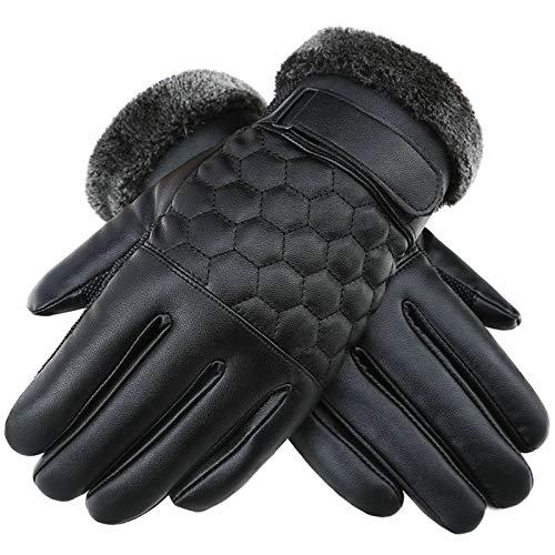 Aooaz Guanti Invernale Guanti in pelle Mriding spessa e velluto caldo impermeabile touch screen moto moto nero