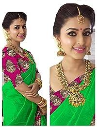 Rajeshwar Fashion Women's Cotton Saree With Blouse Piece (Km 1238 Happy Pink Border Green_Green)