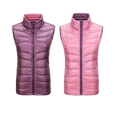 MQMY automne hiver perméabilité à l'air antibactérien doudoune gilet léger femme paragraphe court manteau fermeture à glissière garder chaud double face porter (XL, violet-rose)