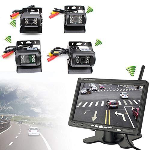 "4 x Funk Kabellos Auto LKW Rückfahrkamera Kabellos Nachtsicht Kamera + 7\"" Auto Monitor KFZ Rückansicht"