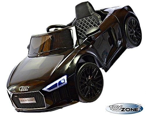 Kinderfahrzeug 12V Kinder Elektro MP3 USB TF Auto Audi R8 Spyder V10 EVA Gummiräder Ledersitz 2,4 GHZ schwarz