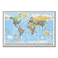 World Map Pin Board Framed In Silver Wood Includes 100 Pins - 96.5 x 66 cms (38 x 26 inches)