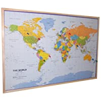 World Pinboard Map Wood Framed (plus flag pins)