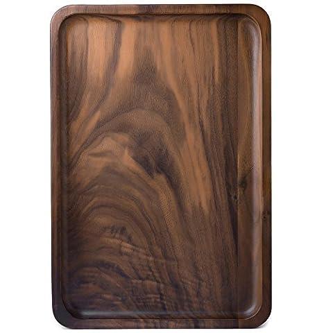 Ecloud Shop® Plateaux en bois pour thé Café Vin, Plateau en bois, desservant Conseil en bois, facile à laver, plateaux décoratifs, Rectangulaire-Black Walnut (Medium Size)