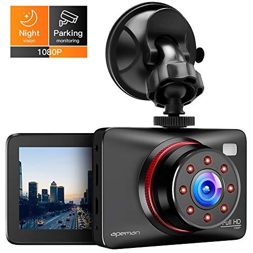 APEMAN Dashcam Full HD Autokamera 1080P DVR mit 170° Weitwinkelobjektiv, Infrarot-Funktion, GPS, WDR, Bewegungserkennung, Parkmonitor, Loop-Aufnahme, Nachtsicht und G-Sensor