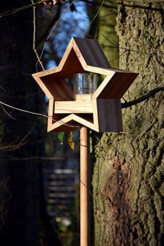Luxus-Vogelhaus 85075e Stern Design, Ständer aus geöltem Eichenholz, Holz mit Silo, 30 x 14 x 152 cm - 11