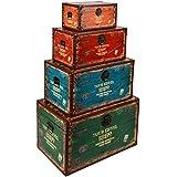 ts-ideen juego set de 4 Containers estantería cómoda caja cofre de diseño estilo retro