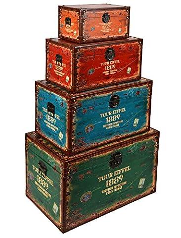 Commode En Bois Vieilli - Ensemble de 4 coffres ou valises Impression