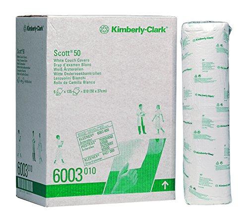 SCOTT* EXTRA Ärzterollen (50 cm), 6003 – 6 Rollen x 135 weiße, 2-lagige Liegenabdeckungen