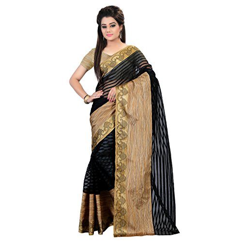Glory Sarees Silk Cotton Saree (Silk101Black_Black And Beige)