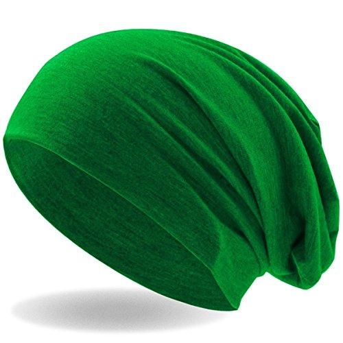Hatstar Klassische Jersey Slouch Long Beanie Mütze, leicht und weich, für Damen und Herren (Grün)