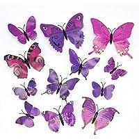 12 stickers Muraux de Papillons 3D Sticker Mural Autocollants bricolage papillon amovible Réutilisable Pour chambre Salon (violet)
