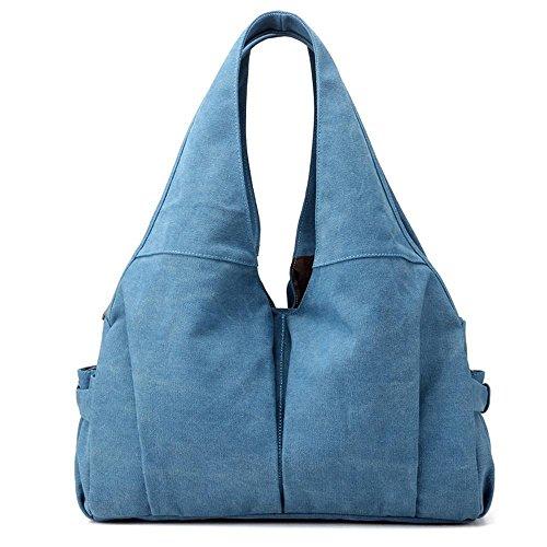 Borsa grande della lettera di modo della borsa della spalla della ragazza del sacchetto della tela di canapa Blue