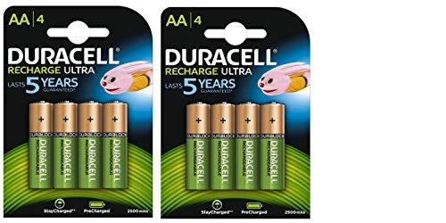 Duracell Ultra AA 2500mAh ricarica per batterie ricaricabili, confezione da 4 pezzi, Pre-caricate, Stay Starged sostituire 2400
