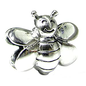 Queenberry Sterling Silver Smile Honey Bee European Style Bead Charm by Queenberry