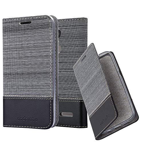 Cadorabo Hülle für Lenovo K6 / K6 Power - Hülle in GRAU SCHWARZ – Handyhülle mit Standfunktion und Kartenfach im Stoff Design - Case Cover Schutzhülle Etui Tasche Book