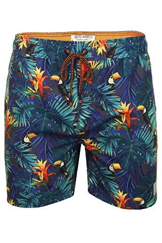 Tokyo Laundry Kekoa - Bañador para Hombre, diseño Floral Hawaiano Verde Green Leaf & Puffin Print...