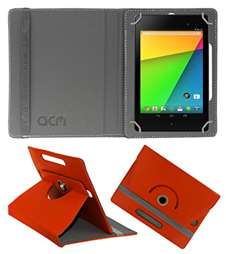 Acm Rotating 360° Leather Flip Case for Asus Google Nexus 7 Fhd 2013 Cover Stand Orange  available at amazon for Rs.149