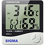 SIGMA Make Digital Temperature Humidity Time Display Meter with Alarm Clock, Wall Mount or Table Top, with inbuilt sensor