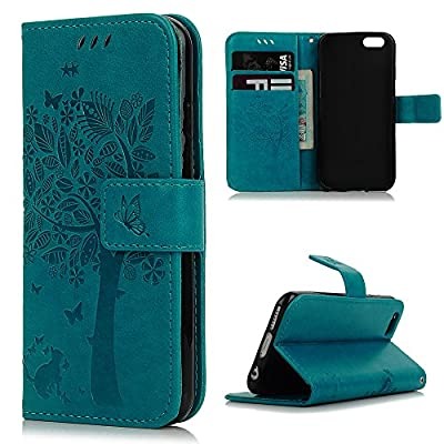 iPhone 6 Case,iPhone 6S Case, YOKIRIN [Wallet Case] Premium Soft PU Leather Notebook Wallet Embossed Flower Tree Design Case with [Kickstand] Stand Function Card Holder and ID Slot Slim Flip Protective Skin Cover for iPhone 6 ,iPhone 6S, Green