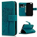 iPhone 6 Plus Wallet Case,iPhone 6S Plus Case,(NOT FOR iPhone 6 6S) YOKIRIN [Embossed Wallet Case] Premium Soft PU Leather Notebook Wallet Flower Tree Design Case with [Kickstand] Stand Function Card Holder and ID Slot Slim Flip Protective Skin Cover for iPhone 6 Plus,iPhone 6S Plus, Blue