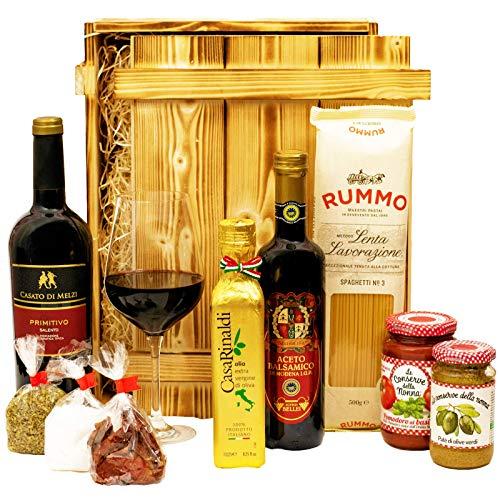 Großes Italienisches Geschenkset mit Holzkiste | Geschenkkorb gefüllt mit Wein und Delikatessen | Geschenk Set mit Italienische Spezialitäten, Feinkost (Geschenk-korb Mit Wein)